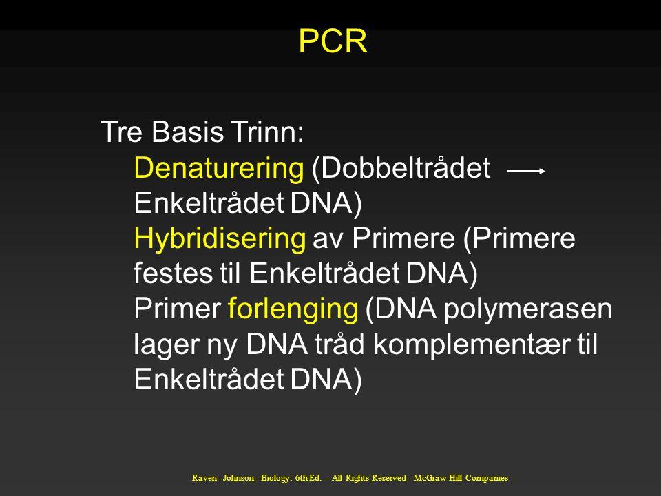 Raven - Johnson - Biology: 6th Ed. - All Rights Reserved - McGraw Hill Companies Tre Basis Trinn: Denaturering (Dobbeltrådet Enkeltrådet DNA) Hybridis