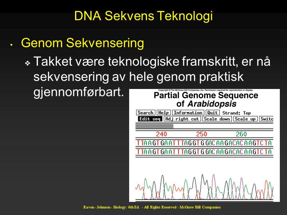 Raven - Johnson - Biology: 6th Ed. - All Rights Reserved - McGraw Hill Companies DNA Sekvens Teknologi Genom Sekvensering  Takket være teknologiske f