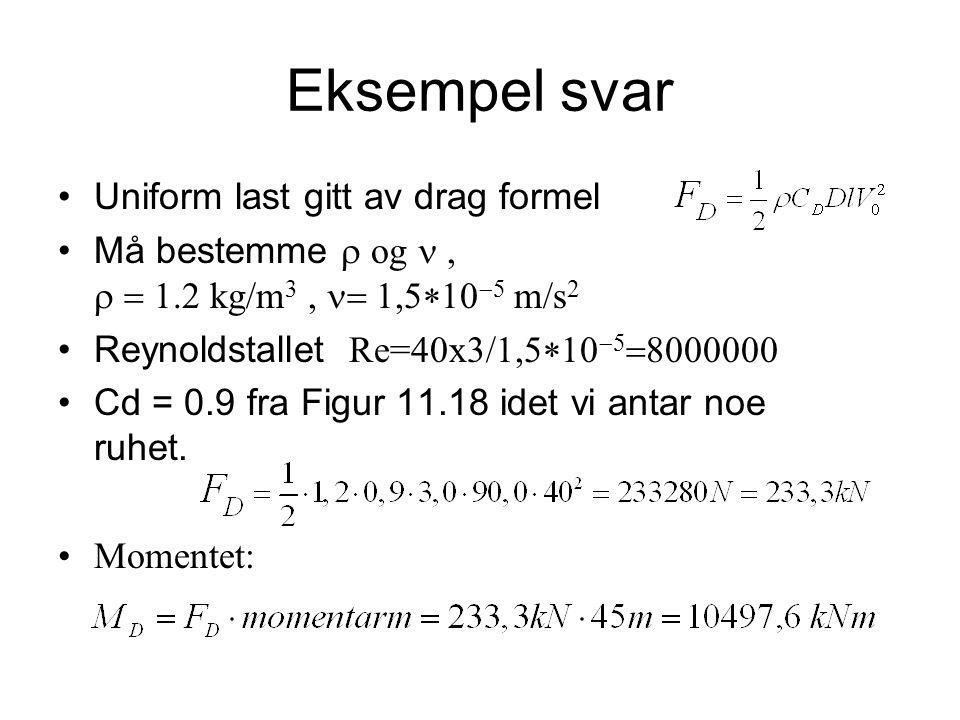 Eksempel svar Uniform last gitt av drag formel Må bestemme  og   kg/m 3,    m/s 2 Reynoldstallet  Re=40x3/    Cd = 0.9 fra Figur 11.18 idet vi antar noe ruhet.