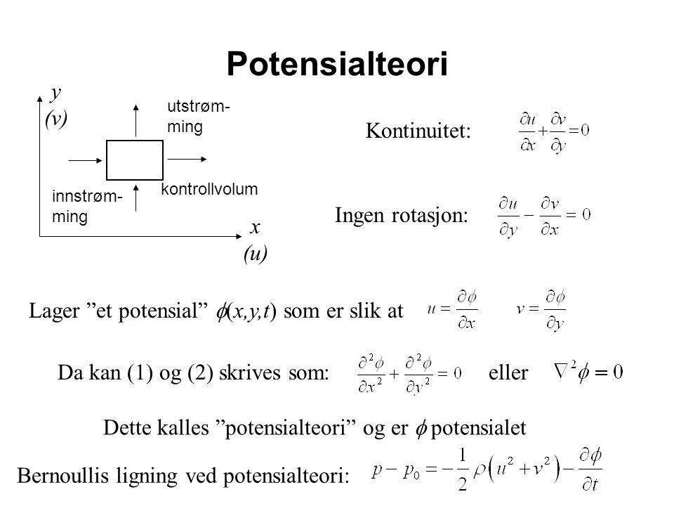 Potensialteori Kontinuitet: x (u) y (v) Ingen rotasjon: Lager et potensial  (x,y,t) som er slik at Da kan (1) og (2) skrives som:eller Dette kalles potensialteori og er  potensialet kontrollvolum innstrøm- ming utstrøm- ming Bernoullis ligning ved potensialteori:
