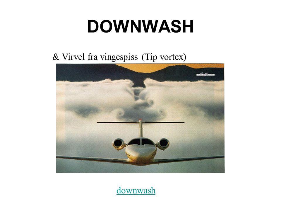 DOWNWASH downwash & Virvel fra vingespiss (Tip vortex)