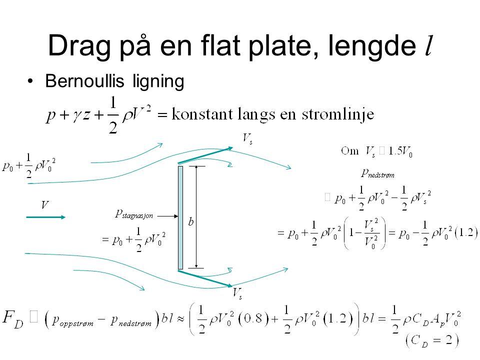 Drag på en flat plate, lengde l Bernoullis ligning V b