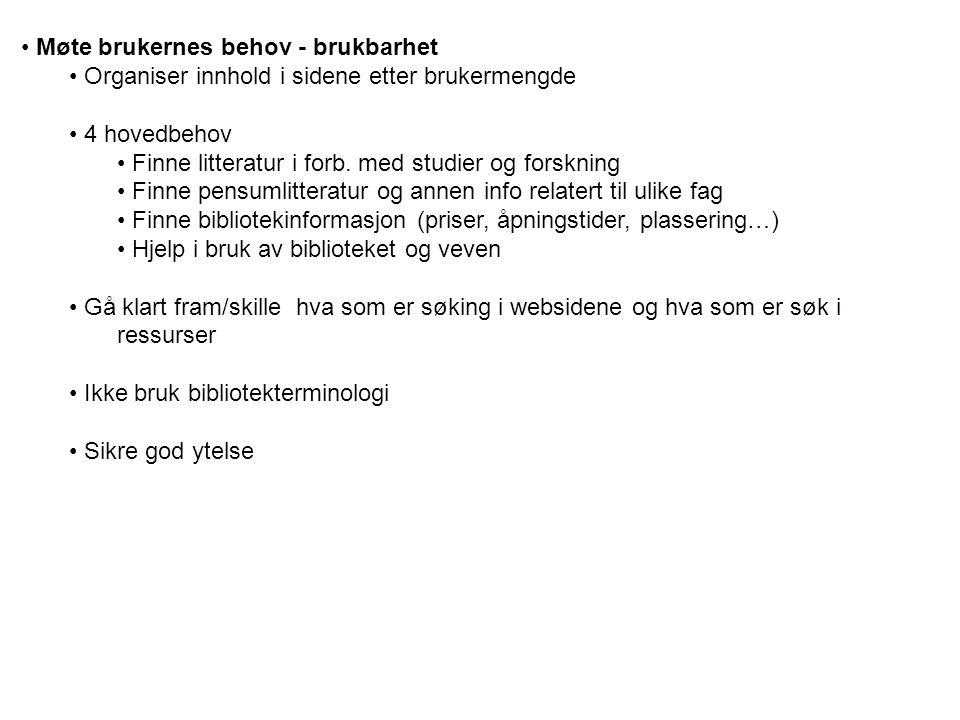 Møte brukernes behov - brukbarhet Organiser innhold i sidene etter brukermengde 4 hovedbehov Finne litteratur i forb.