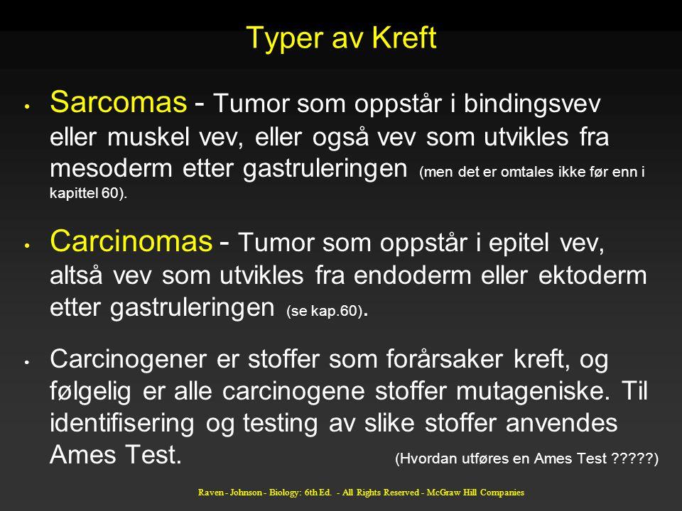 Typer av Kreft Sarcomas - Tumor som oppstår i bindingsvev eller muskel vev, eller også vev som utvikles fra mesoderm etter gastruleringen (men det er omtales ikke før enn i kapittel 60).