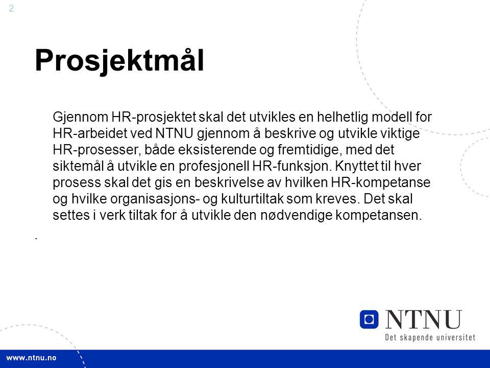 1 Overordnet målsetting NTNU ønsker å bygge en mer profesjonell HR-funksjon for å støtte opp om NTNUs primærvirksomhet – gjennom å være en aktiv leder