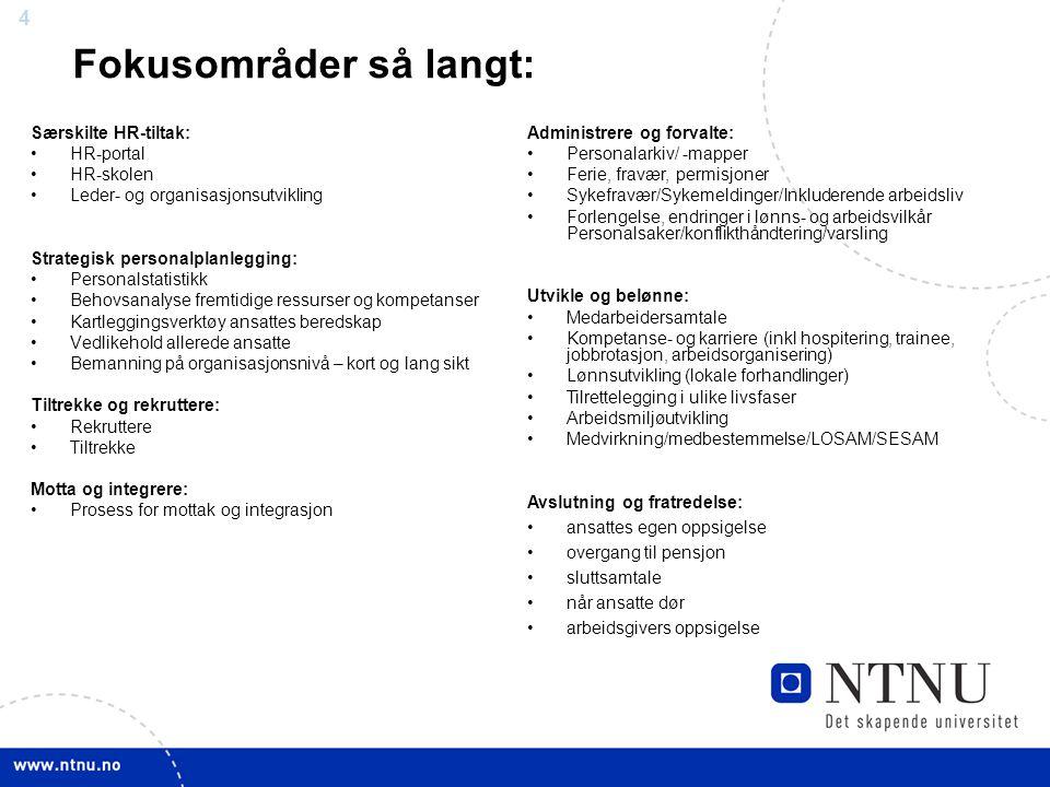 3 Avslutning Rekruttering Strategisk personalplanlegging Integrering Nye medarbeidere skal raskt integreres og bli en del av det produktive arbeidsmil