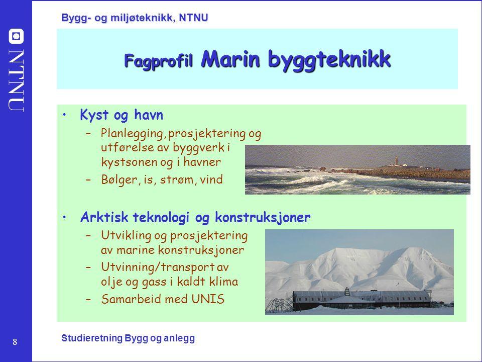 8 Bygg- og miljøteknikk, NTNU Studieretning Bygg og anlegg Fagprofil Marin byggteknikk Kyst og havn –Planlegging, prosjektering og utførelse av byggve