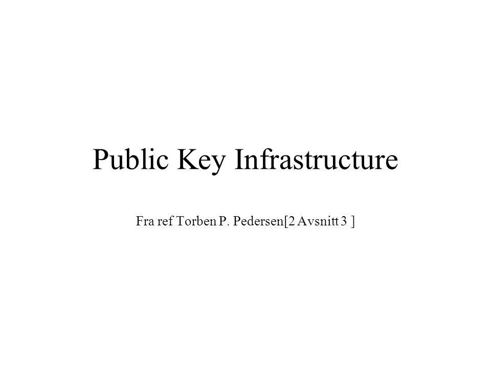 Public Key Infrastructure Fra ref Torben P. Pedersen[2 Avsnitt 3 ]