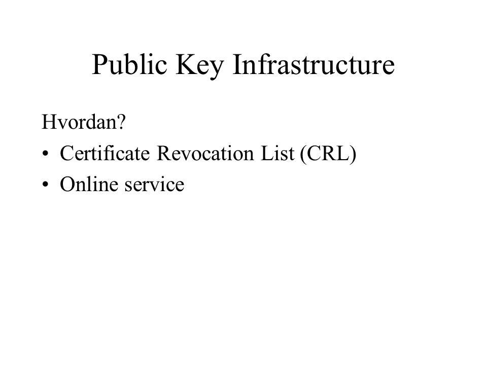 Public Key Infrastructure Hvordan Certificate Revocation List (CRL) Online service