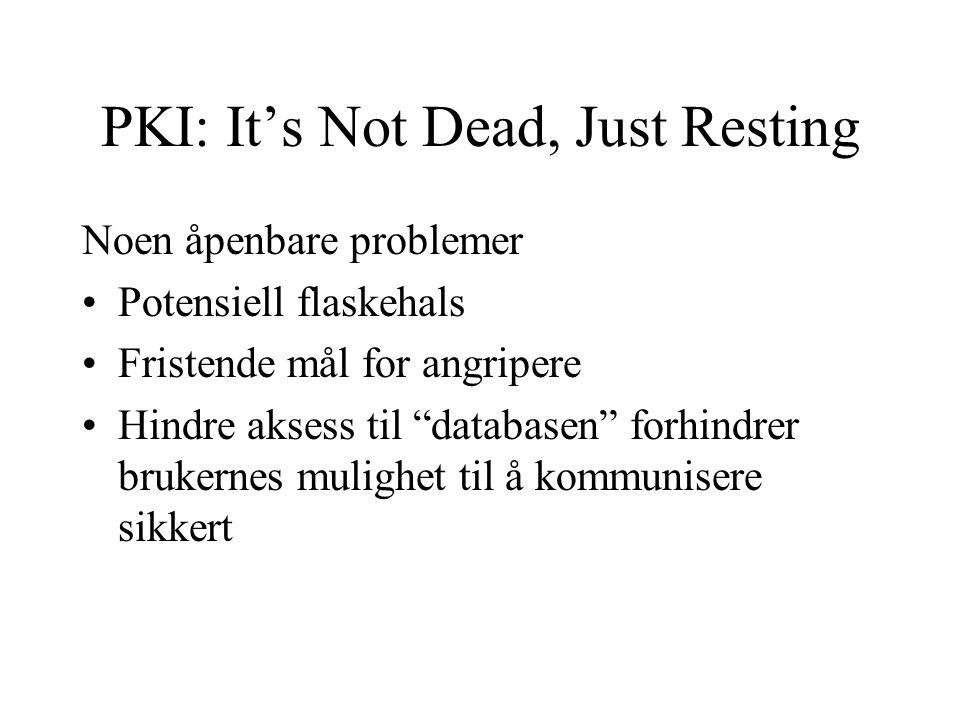 PKI: It's Not Dead, Just Resting Noen åpenbare problemer Potensiell flaskehals Fristende mål for angripere Hindre aksess til databasen forhindrer brukernes mulighet til å kommunisere sikkert