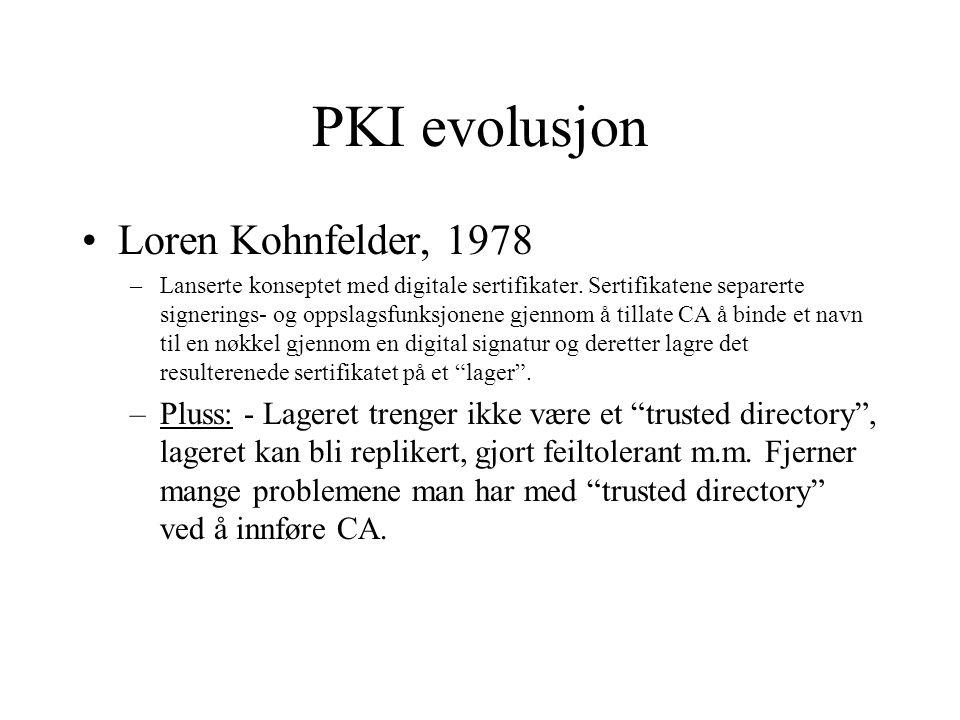 PKI evolusjon Loren Kohnfelder, 1978 –Lanserte konseptet med digitale sertifikater.