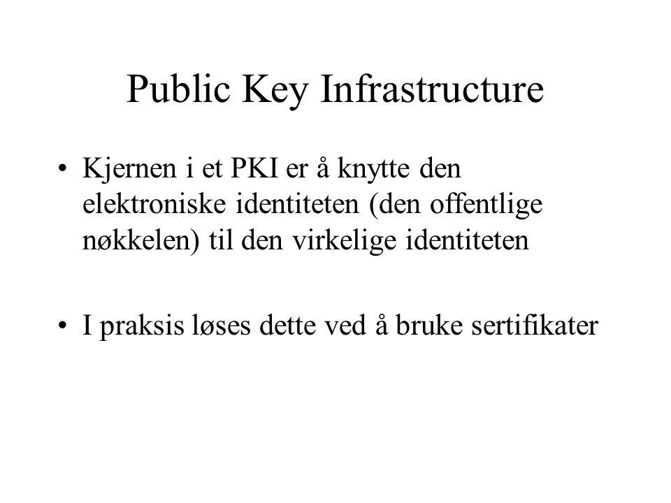 Public Key Infrastructure Kjernen i et PKI er å knytte den elektroniske identiteten (den offentlige nøkkelen) til den virkelige identiteten I praksis løses dette ved å bruke sertifikater