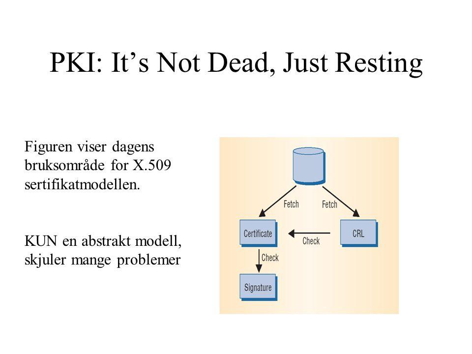 PKI: It's Not Dead, Just Resting Figuren viser dagens bruksområde for X.509 sertifikatmodellen.