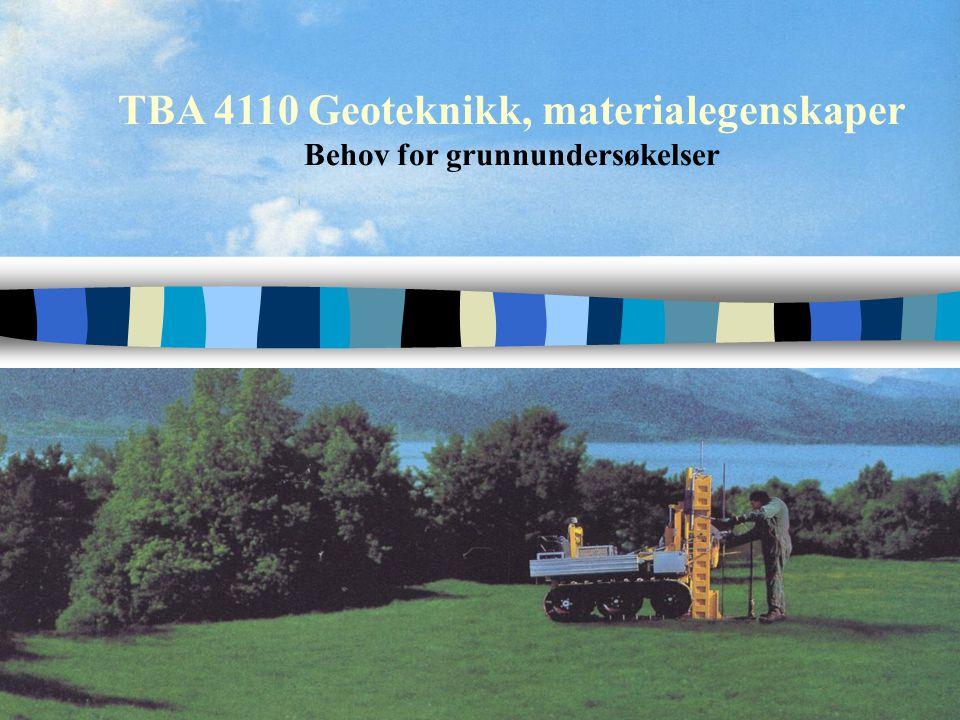 TBA 4110 Geoteknikk, materialegenskaper Presentasjon av undersøkelser - symboler