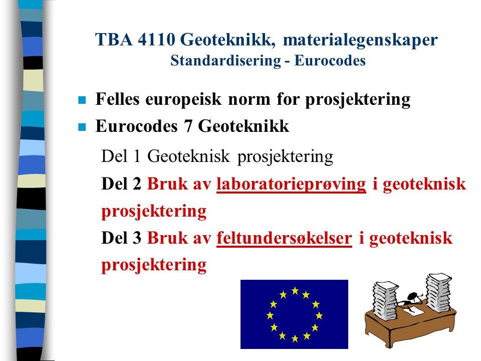 TBA 4110 Geoteknikk, materialegenskaper Standardisering - Eurocodes n Felles europeisk norm for prosjektering n Eurocodes 7 Geoteknikk Del 1 Geoteknis