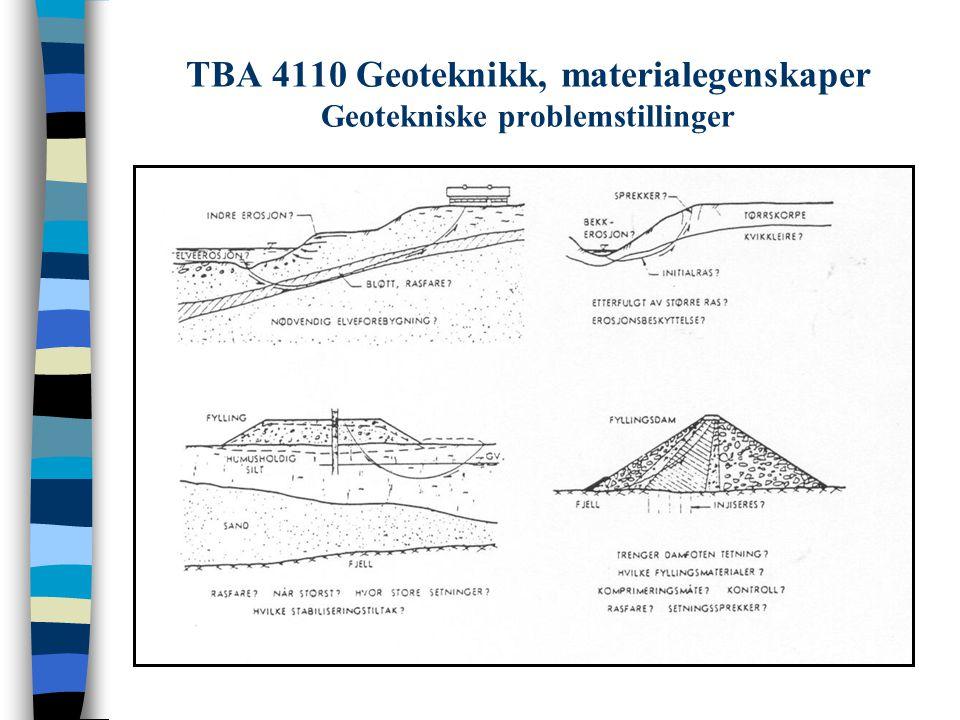 TBA 4110 Geoteknikk, materialegenskaper Geotekniske problemstillinger