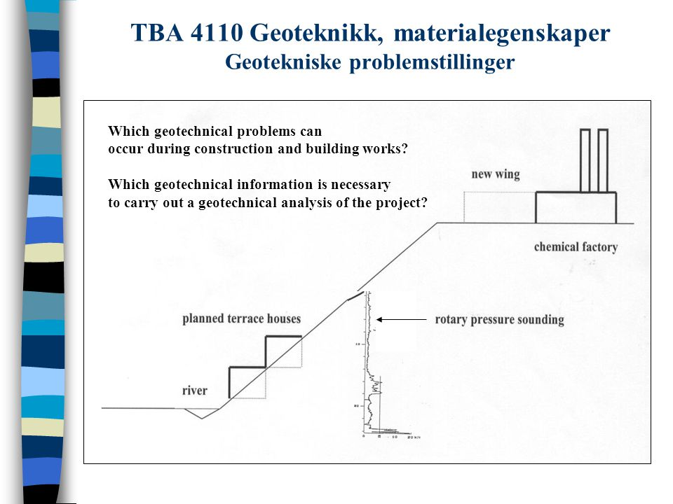 Which geotechnical problems can occur during construction and building works? Which geotechnical information is necessary to carry out a geotechnical
