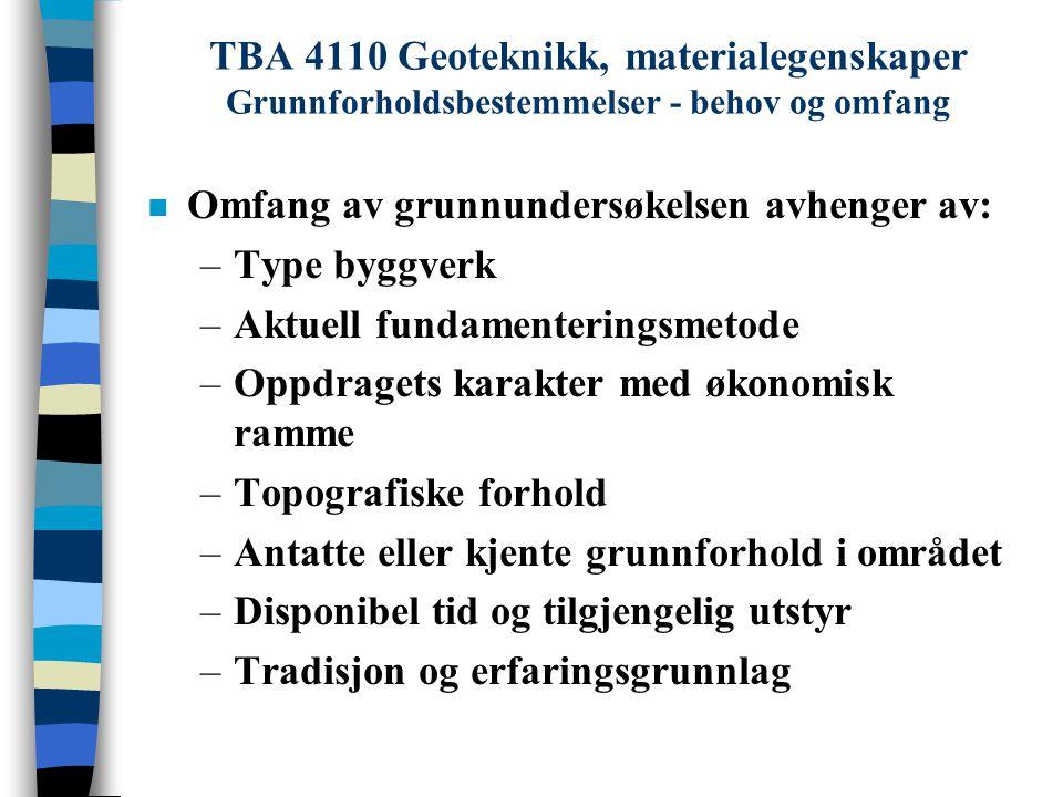 TBA 4110 Geoteknikk, materialegenskaper Grunnforholdsbestemmelser - behov og omfang n Omfang av grunnundersøkelsen avhenger av: –Type byggverk –Aktuel