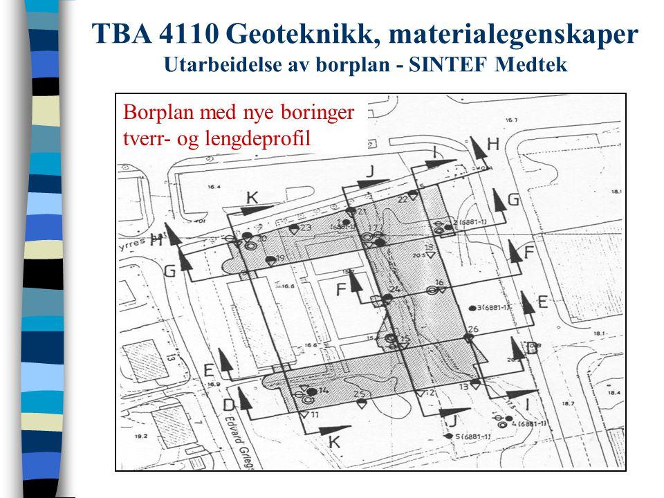 TBA 4110 Geoteknikk, materialegenskaper Utarbeidelse av borplan - SINTEF Medtek Borplan med nye boringer tverr- og lengdeprofil