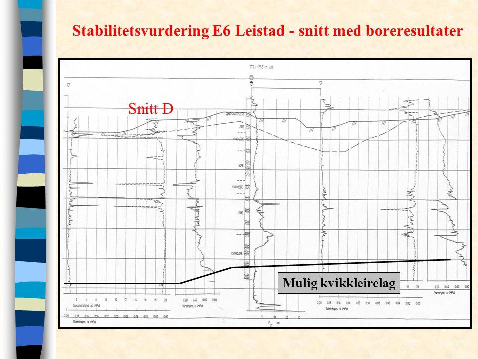 Stabilitetsvurdering E6 Leistad - snitt med boreresultater Mulig kvikkleirelag Snitt D