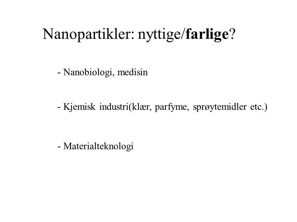 Nanopartikler: nyttige/farlige.