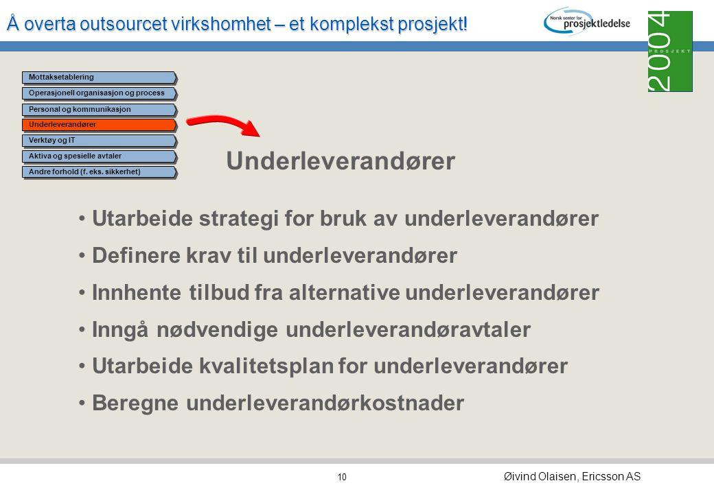 Å overta outsourcet virkshomhet – et komplekst prosjekt! Øivind Olaisen, Ericsson AS 9 Personal og kommunikasjon Forhandle avtaler for personal som ov