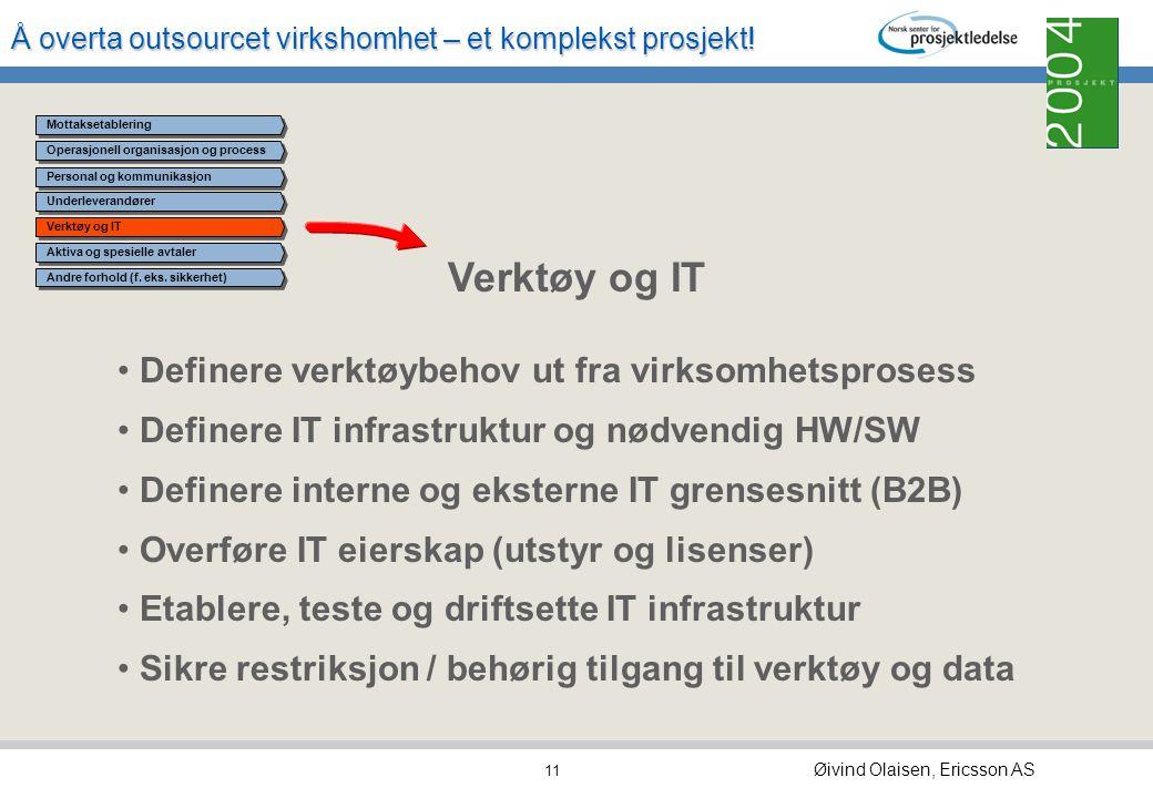 Å overta outsourcet virkshomhet – et komplekst prosjekt! Øivind Olaisen, Ericsson AS 10 Operasjonell organisasjon og process Underleverandører Verktøy