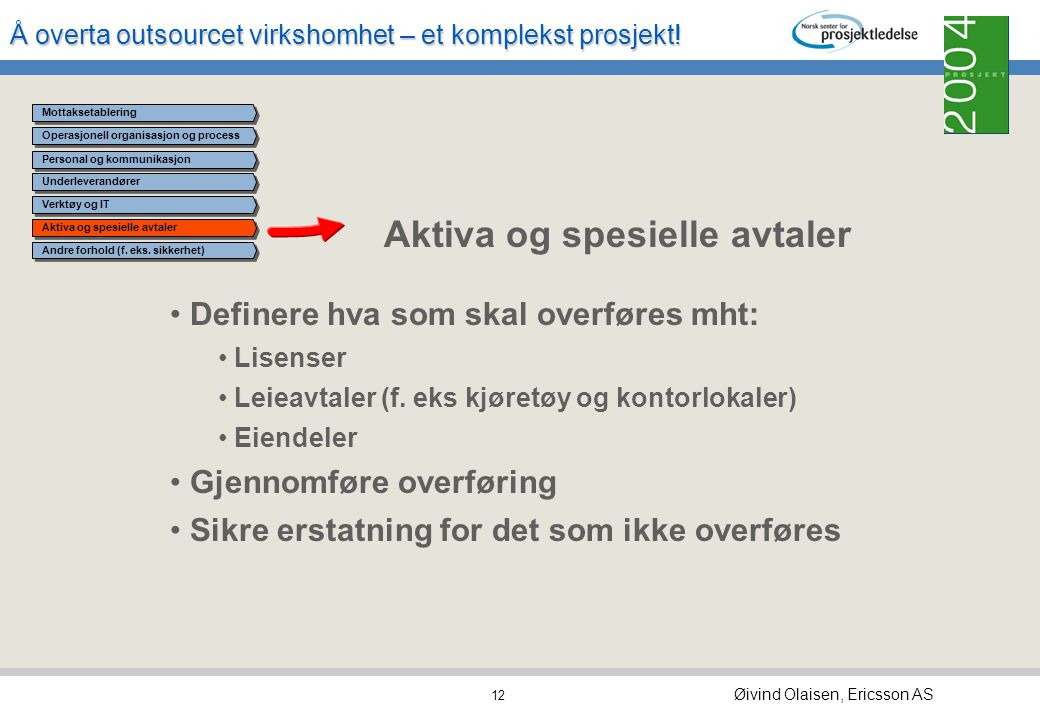 Å overta outsourcet virkshomhet – et komplekst prosjekt! Øivind Olaisen, Ericsson AS 11 Operasjonell organisasjon og process Underleverandører Verktøy