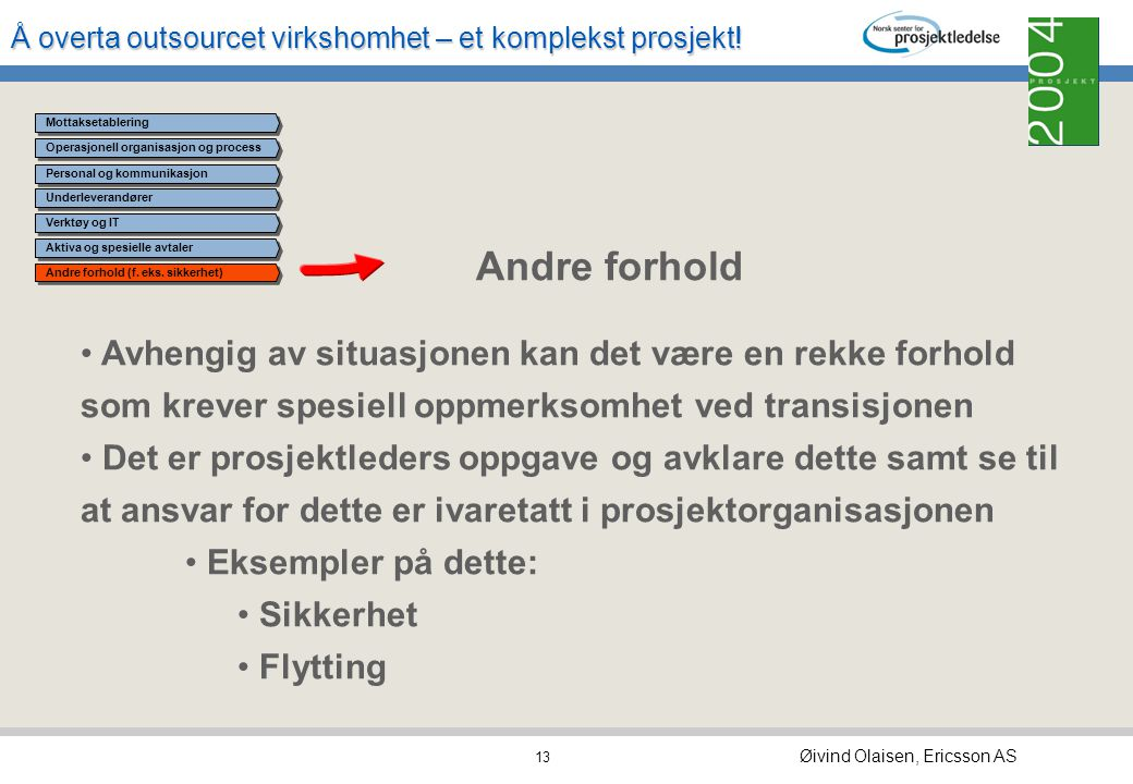 Å overta outsourcet virkshomhet – et komplekst prosjekt! Øivind Olaisen, Ericsson AS 12 Operasjonell organisasjon og process Underleverandører Verktøy