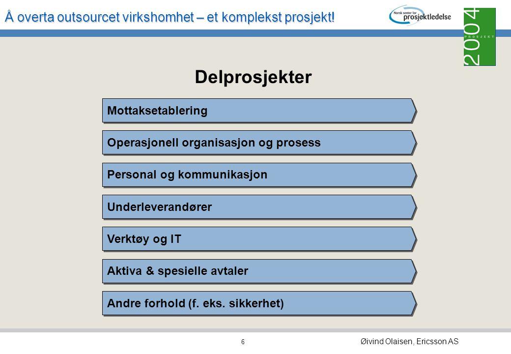 Å overta outsourcet virkshomhet – et komplekst prosjekt! Øivind Olaisen, Ericsson AS 5 DRIFT og trans- formasjon Overlevering og transisjons- avslutni