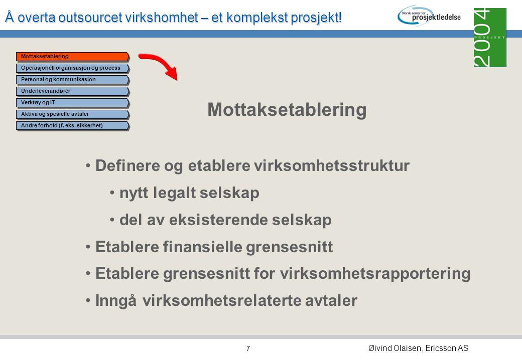 Å overta outsourcet virkshomhet – et komplekst prosjekt! Øivind Olaisen, Ericsson AS 6 Mottaksetablering Operasjonell organisasjon og prosess Personal