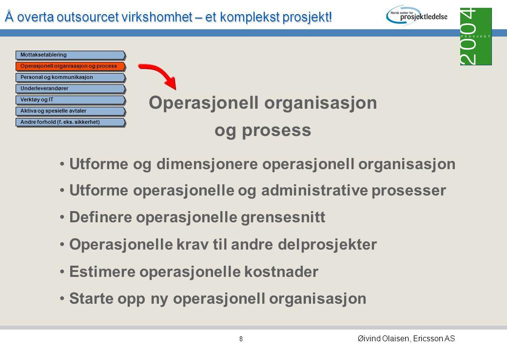 Å overta outsourcet virkshomhet – et komplekst prosjekt! Øivind Olaisen, Ericsson AS 7 Mottaksetablering Definere og etablere virksomhetsstruktur nytt