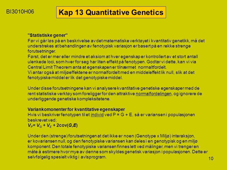 10 BI3010H06 Kap 13 Quantitative Genetics