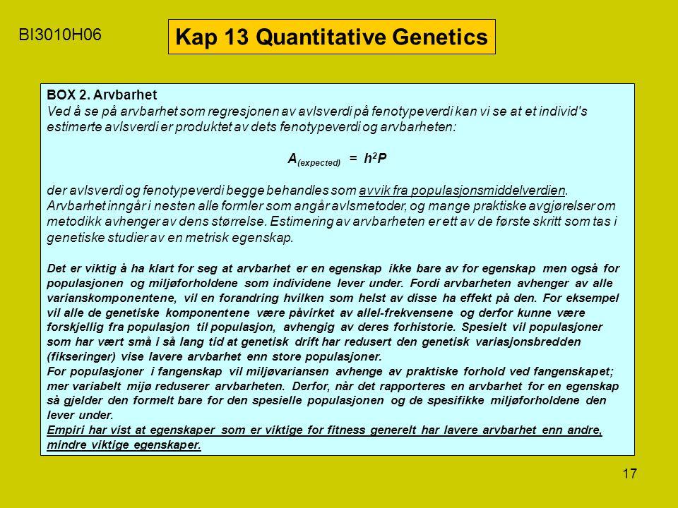 17 BI3010H06 Kap 13 Quantitative Genetics BOX 2. Arvbarhet Ved å se på arvbarhet som regresjonen av avlsverdi på fenotypeverdi kan vi se at et individ
