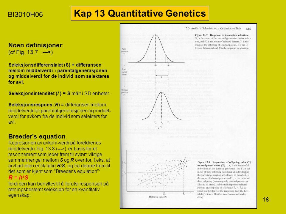 18 BI3010H06 Kap 13 Quantitative Genetics Noen definisjoner : (cf Fig. 13.7 --->) Seleksjonsdifferensialet (S) = differansen mellom middelverdi i pare