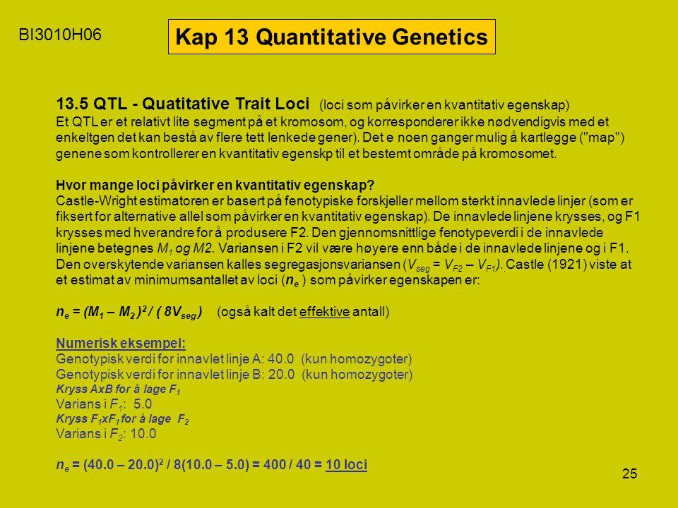 25 BI3010H06 Kap 13 Quantitative Genetics 13.5 QTL - Quatitative Trait Loci (loci som påvirker en kvantitativ egenskap) Et QTL er et relativt lite seg