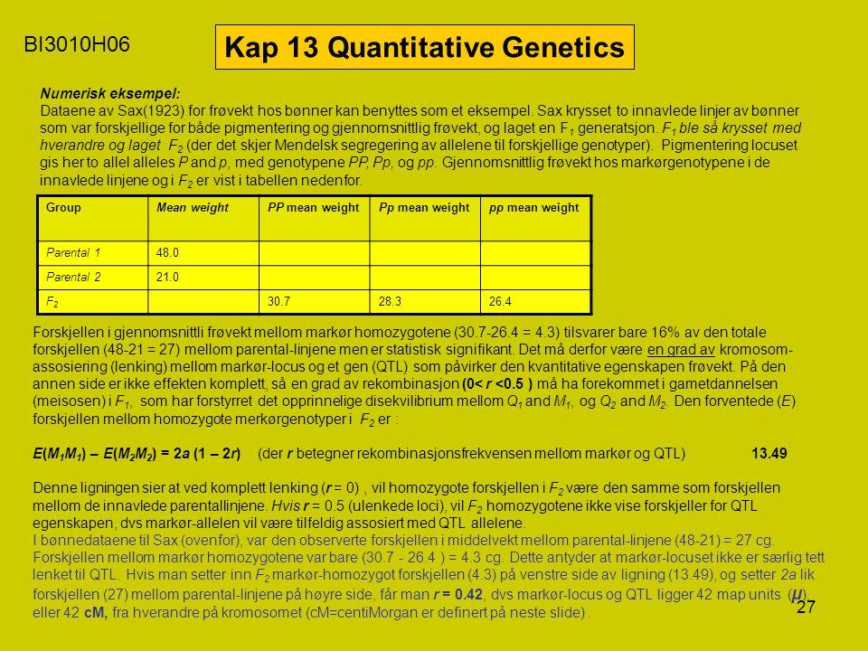 27 BI3010H06 Kap 13 Quantitative Genetics Numerisk eksempel: Dataene av Sax(1923) for frøvekt hos bønner kan benyttes som et eksempel. Sax krysset to