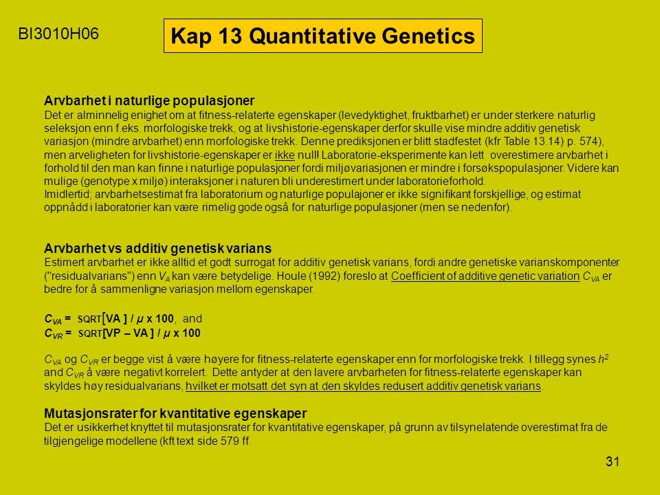 31 BI3010H06 Kap 13 Quantitative Genetics Arvbarhet i naturlige populasjoner Det er alminnelig enighet om at fitness-relaterte egenskaper (levedyktigh