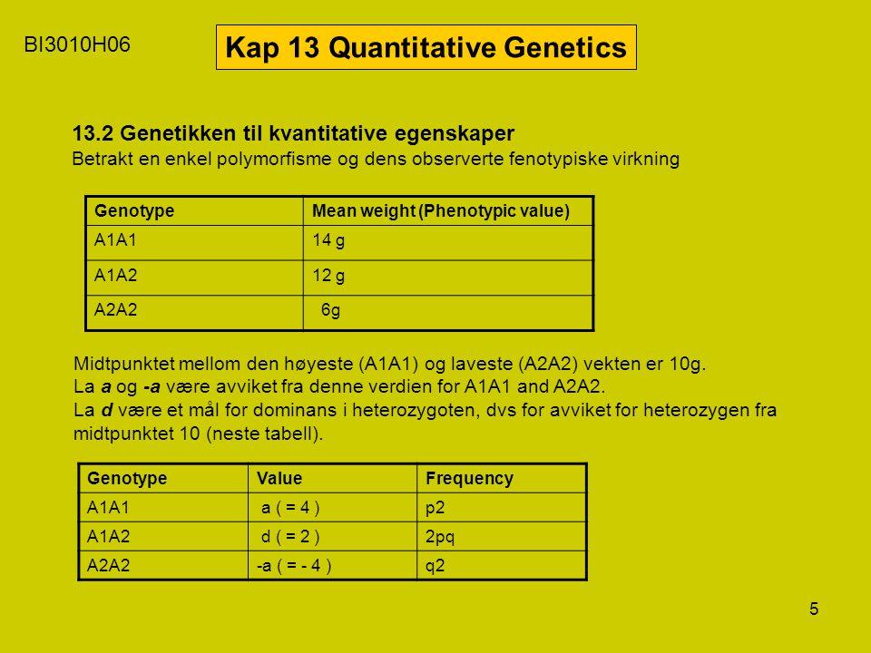 5 BI3010H06 Kap 13 Quantitative Genetics 13.2 Genetikken til kvantitative egenskaper Betrakt en enkel polymorfisme og dens observerte fenotypiske virk