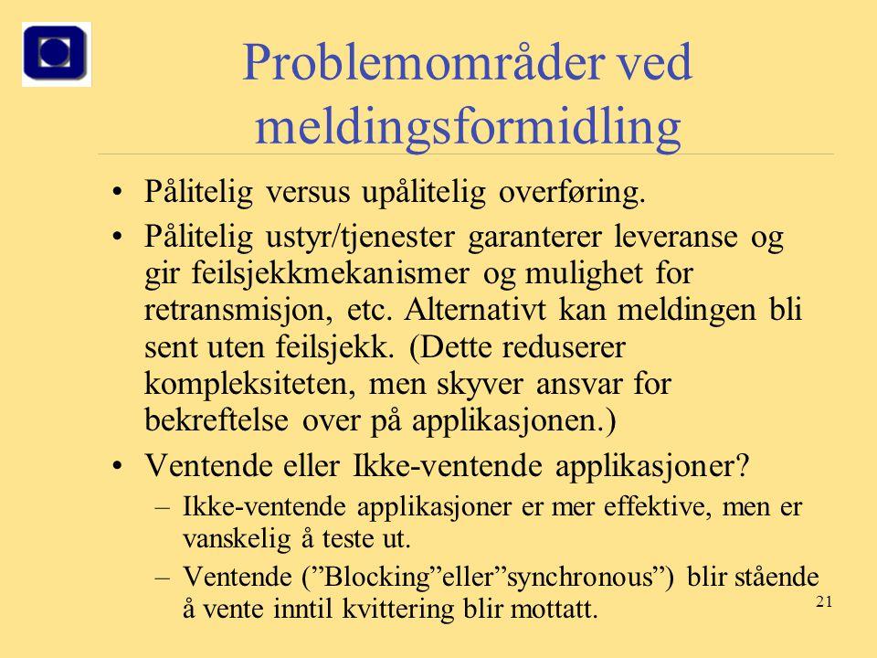 21 Problemområder ved meldingsformidling Pålitelig versus upålitelig overføring. Pålitelig ustyr/tjenester garanterer leveranse og gir feilsjekkmekani