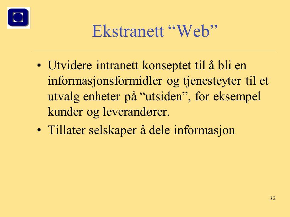 """32 Ekstranett """"Web"""" Utvidere intranett konseptet til å bli en informasjonsformidler og tjenesteyter til et utvalg enheter på """"utsiden"""", for eksempel k"""
