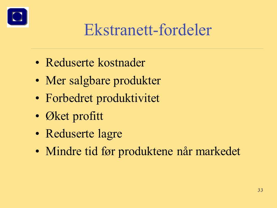 33 Ekstranett-fordeler Reduserte kostnader Mer salgbare produkter Forbedret produktivitet Øket profitt Reduserte lagre Mindre tid før produktene når m