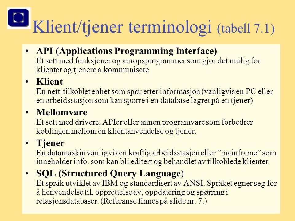4 Klient/tjener terminologi (tabell 7.1) API (Applications Programming Interface) Et sett med funksjoner og anropsprogrammer som gjør det mulig for kl