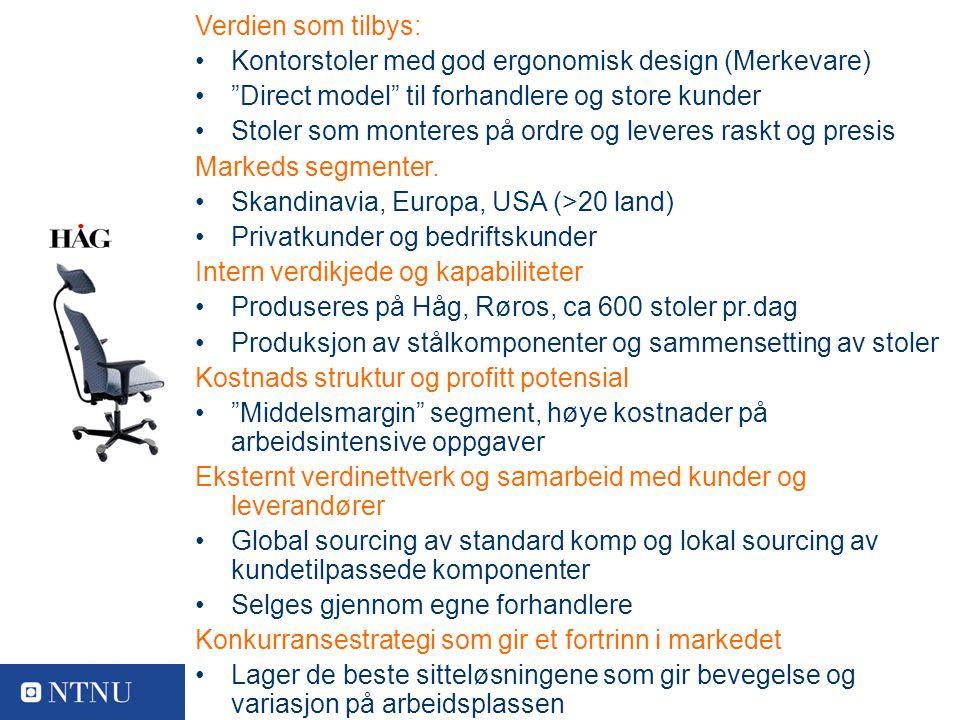 11 Varemerkeiere Verdien som tilbys: Kontorstoler med god ergonomisk design (Merkevare) Direct model til forhandlere og store kunder Stoler som monteres på ordre og leveres raskt og presis Markeds segmenter.