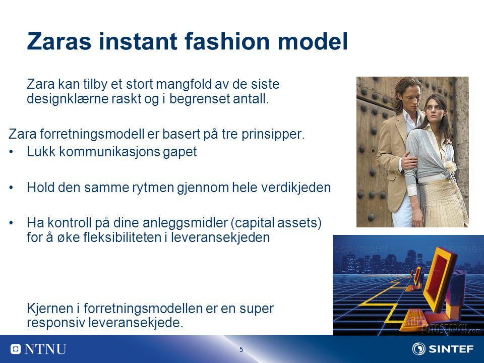 5 Zaras instant fashion model Zara kan tilby et stort mangfold av de siste designklærne raskt og i begrenset antall.