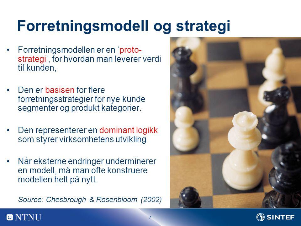 7 Forretningsmodell og strategi Forretningsmodellen er en 'proto- strategi', for hvordan man leverer verdi til kunden, Den er basisen for flere forretningsstrategier for nye kunde segmenter og produkt kategorier.