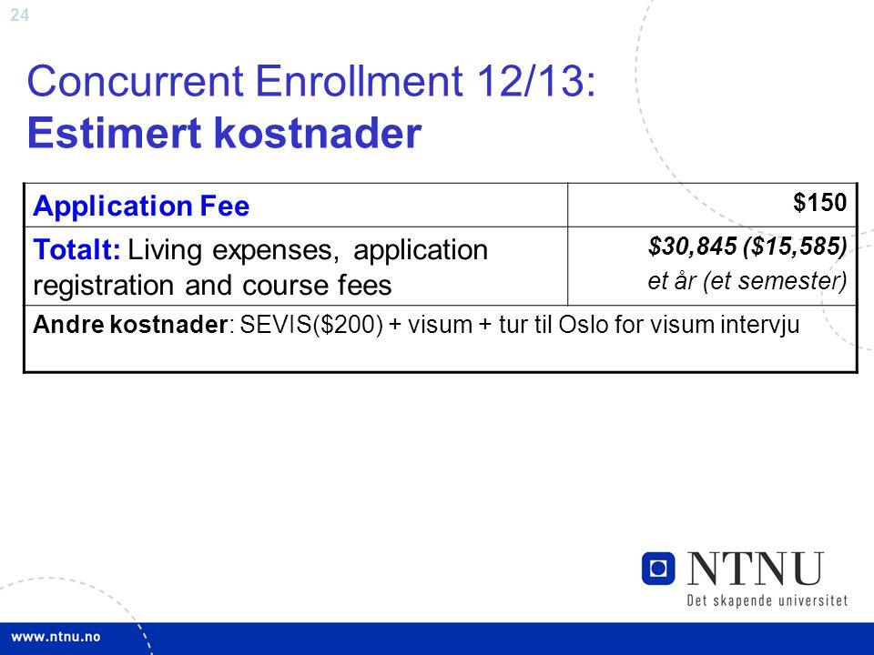 24 Concurrent Enrollment 12/13: Estimert kostnader Application Fee $150 Totalt: Living expenses, application registration and course fees $30,845 ($15,585) et år (et semester) Andre kostnader: SEVIS($200) + visum + tur til Oslo for visum intervju