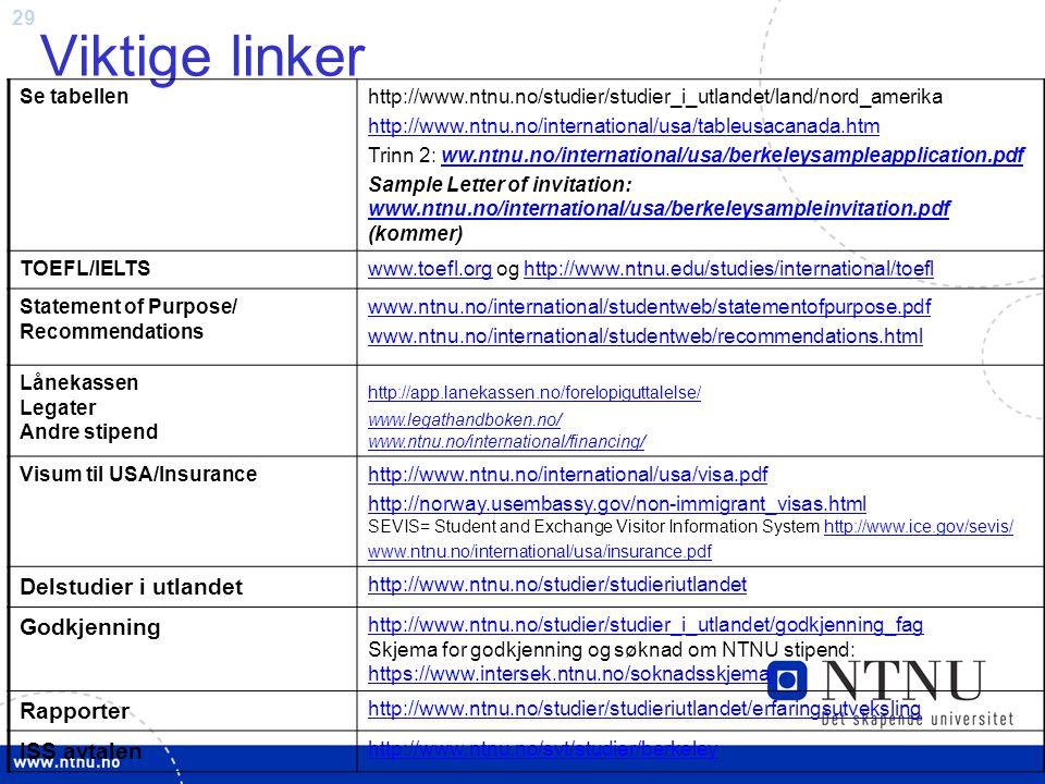 29 Viktige linker Se tabellenhttp://www.ntnu.no/studier/studier_i_utlandet/land/nord_amerika http://www.ntnu.no/international/usa/tableusacanada.htm Trinn 2: ww.ntnu.no/international/usa/berkeleysampleapplication.pdfww.ntnu.no/international/usa/berkeleysampleapplication.pdf Sample Letter of invitation: www.ntnu.no/international/usa/berkeleysampleinvitation.pdf (kommer) www.ntnu.no/international/usa/berkeleysampleinvitation.pdf TOEFL/IELTSwww.toefl.orgwww.toefl.org og http://www.ntnu.edu/studies/international/toeflhttp://www.ntnu.edu/studies/international/toefl Statement of Purpose/ Recommendations www.ntnu.no/international/studentweb/statementofpurpose.pdf www.ntnu.no/international/studentweb/recommendations.html Lånekassen Legater Andre stipend http://app.lanekassen.no/forelopiguttalelse/ www.legathandboken.no/ www.ntnu.no/international/financing/ Visum til USA/Insurancehttp://www.ntnu.no/international/usa/visa.pdf http://norway.usembassy.gov/non-immigrant_visas.html http://norway.usembassy.gov/non-immigrant_visas.html SEVIS= Student and Exchange Visitor Information System http://www.ice.gov/sevis/http://www.ice.gov/sevis/ www.ntnu.no/international/usa/insurance.pdf Delstudier i utlandet http://www.ntnu.no/studier/studieriutlandet Godkjenning http://www.ntnu.no/studier/studier_i_utlandet/godkjenning_fag http://www.ntnu.no/studier/studier_i_utlandet/godkjenning_fag Skjema for godkjenning og søknad om NTNU stipend: https://www.intersek.ntnu.no/soknadsskjema/ https://www.intersek.ntnu.no/soknadsskjema/ Rapporter http://www.ntnu.no/studier/studieriutlandet/erfaringsutveksling ISS avtalen http://www.ntnu.no/svt/studier/berkeley