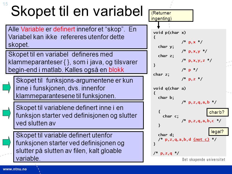 """15 Skopet til en variabel Alle Variable er definert innefor et """"skop"""". En Variabel kan ikke refereres utenfor dette skopet. Skopet til funksjons-argum"""