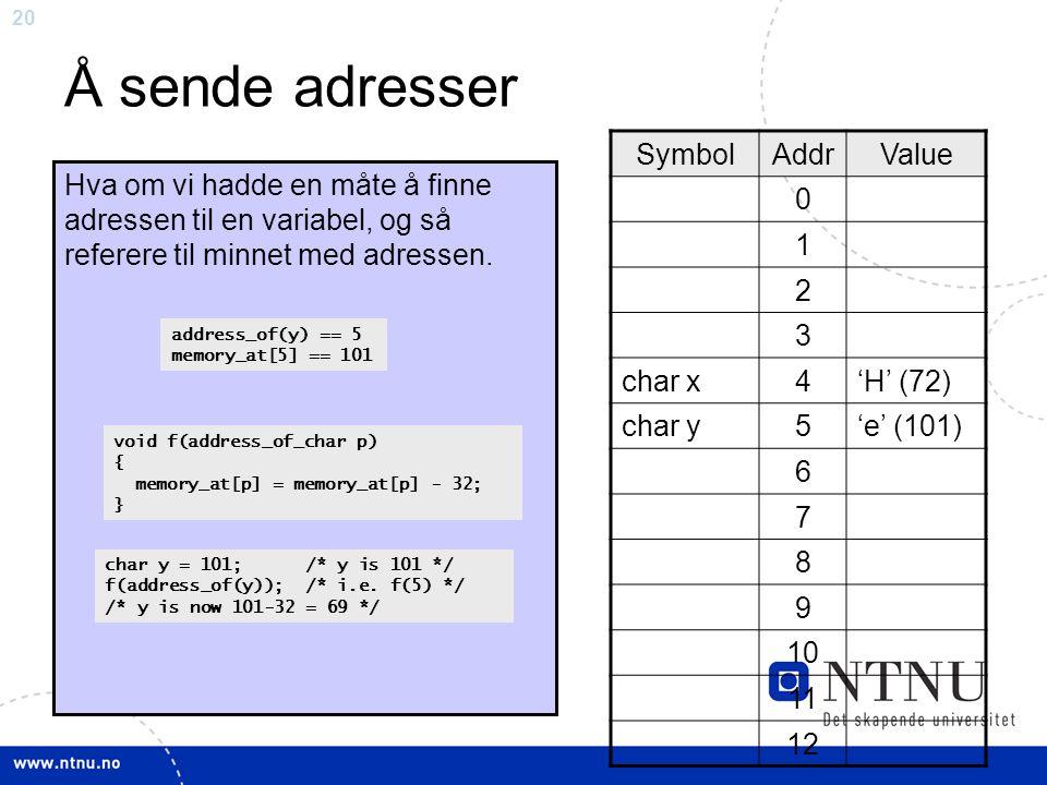 20 Å sende adresser SymbolAddrValue 0 1 2 3 char x4'H' (72) char y5'e' (101) 6 7 8 9 10 11 12 Hva om vi hadde en måte å finne adressen til en variabel